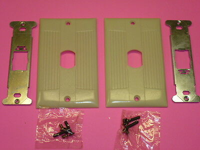 Nos (2) Eagle Interchange Single Gang Ivory Ribbed Bakelite Wall Plate, Vertical