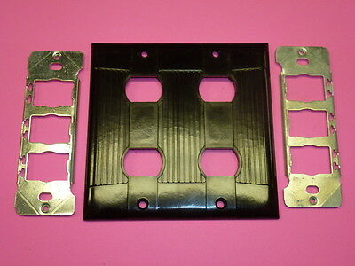 Nos Eagle Interchange 2-Gang Brown Ribbed Bakelite Wall Plate, No Screws
