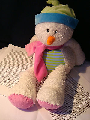 Animal Adventure Plush Snowman Scarf & Hat Christmas Holiday Stuffed Lovey Toy