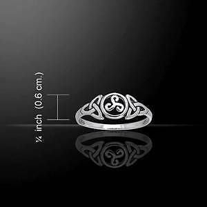 Irish Celtic Trinity Triquetra Spirals Sterling Silver Ring - Size Selectable