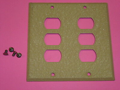 Nos! Bell Interchange 2-Gang Ivory Crackle Wall Plate, Horizontal 6-Hole 19-2-Ic