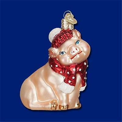SNOWY PIG OLD WORLD CHRISTMAS GLASS PIG WEARING HAT & SCARF ORNAMENT NWT 12419