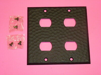 Nos! A-M-T Interchange 2-Gang Hammered Wrought Iron Finish Wall Plate, 4-Hole