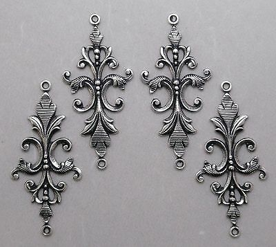 #1771 ANTIQUED SS/P FILIGREE 2 RING CONNECTOR - 4 Pc Lot