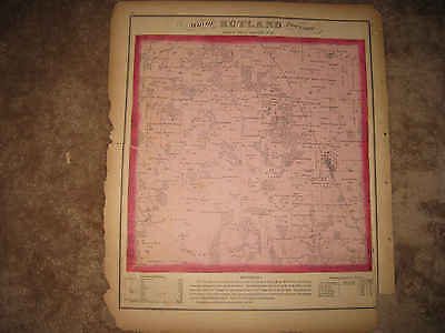 Antique 1871 Rutland Township Gilbert Station Kane County Illinois Handclr Map N
