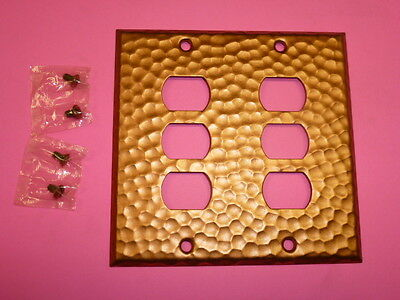 Nos! A-M-T Interchange 2-Gang Hammered Copper Finish Wall Plate, 6-Hole
