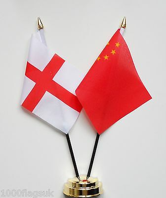 England & China Double Friendship Table Flag Set