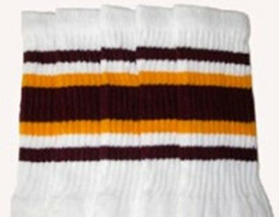 """22/"""" KNEE HIGH WHITE tube socks with MAROON//GOLD stripes style 5 22-132"""