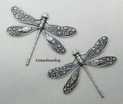#1722 BEAUTIFUL LARGE ANTIQUED SS/P DRAGONFLY COMPONENT - 2 Pc Lot