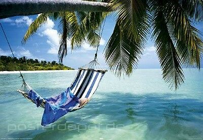 poster beach hammock palmen strand meer h ngematte beach urlaub 91 5 x 61 cm eur 5 95. Black Bedroom Furniture Sets. Home Design Ideas