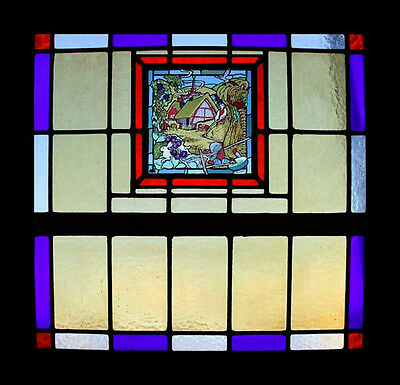 Spectacular Art Deco Harvest Home English Stained Glass Window Fairytale Theme