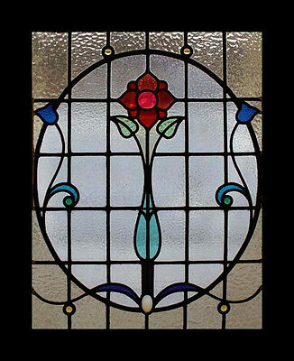 Stunning Art Nouveau Rose Beauty Antique Scottish Stained Glass Window