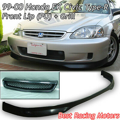 99-00 Civic 2dr Type-R Front Bumper Lip (Urethane) + Grill (ABS)