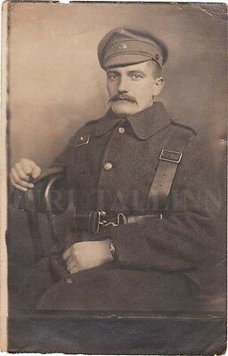 LATVIA Liberation WAR Old Mustached SOLDIER in Winter UNIFORM Photo 1919