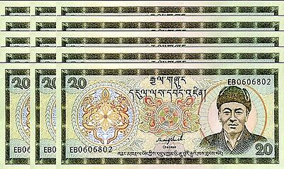 Bhutan 20 Ngultrum 1992 P.16 Unc Sign 1 Lot 15 Pcs