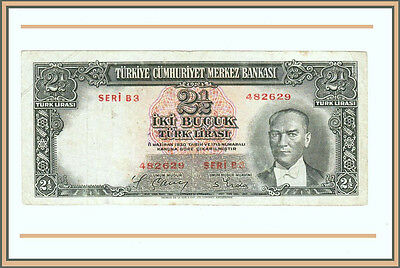Turkey 2'nd Emission 2 ½  Lira,1939 Vf P.126  President Kemal Ataturk