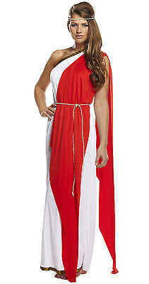 8/10/12 Red & White Greek Goddess Costume / Roman Toga Ladies Fancy Dress Outfit