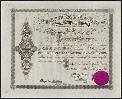 Phoenix Silver Lead Mining Co. Ltd., £10 share, 1872