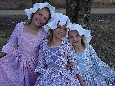 Modest Custom Made Historical Costume Colonial~Purple Flower Day Dress~Child 4/5