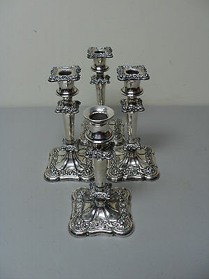 GREAT SET of 4 ANTIQUE WEBSTER & SON SILVER PLATE CANDLESTICKS, c.1900