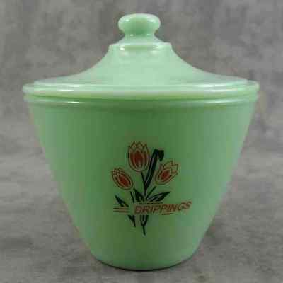 JADEITE GREEN GLASS RED TULIP GREASE DRIPPINGS JAR CONTAINER ~ LIDDED BOWL ~
