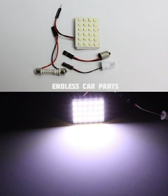 1x White HID Xenon Lamp Color Map Dome Interior Light Bulb 24 SMD LED Panel - A