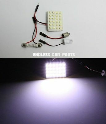 1x White HID Xenon Lamp Color Map Dome Interior Light Bulb 24 SMD LED Panel - L