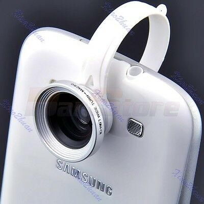 Clip Wide Fish Eye Macro Lens 180°Detachable For iPhone Galaxy HTC Silver