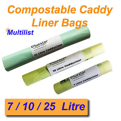 Compostable 7L 10L 25L Biodegradable Caddy Liner Food Waste / Compost Bags