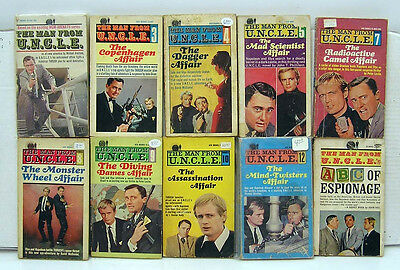 Set of 10- MAN FROM UNCLE Paperback Book- Vintage! (M1565)