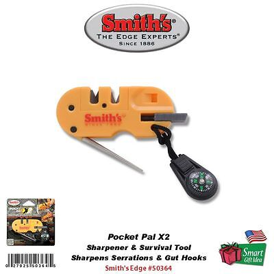 Smith's Pocket Pal X2 Sharpener & Survival Tool, LED, Fire Starter #50364