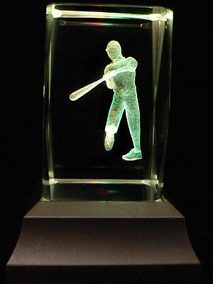 The Baseball Player Laser Inscribed Crystal LED Night Light Gifts 020