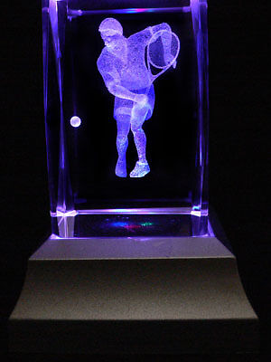 Tennis Player Laser Inscribed Crystal LED Night Light Gifts 022