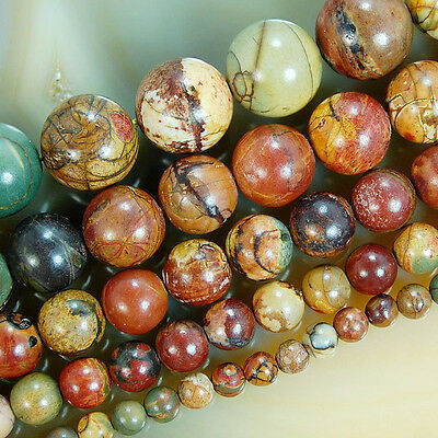 Natural Colorful Picasso Round Beads 15.5 4mm 6mm 8mm 10mm 12mm Pick Size
