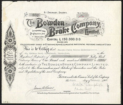 Bowden Brake Co. Ltd., £1 shares, 1922, Birmingham.