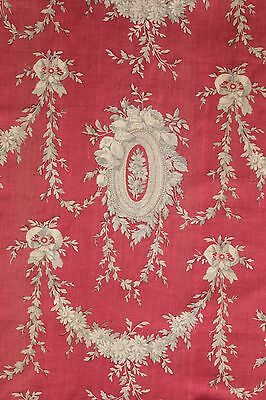 curtain Antique French rococo red + grey gray block printed panel c 1850 cotton