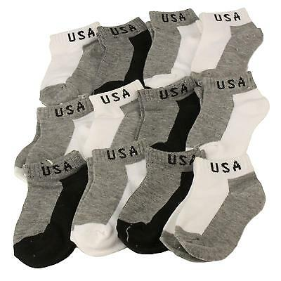 12 Pairs Patriotic USA 2 Tone Casual Sport Socks Set Baby Toddler Boys Ages 2-3