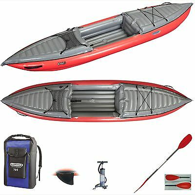 Gumotex Helios 1 High Pressure Kayak with Dry Bag, Fin, Paddle and Pump - Red