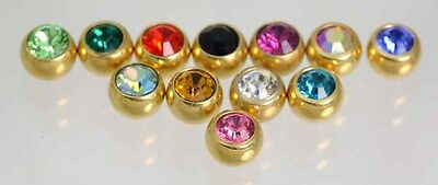 SPARE Threaded Crystal Gems    1.6MM (14G) X 6MM              24ct Gold Plated