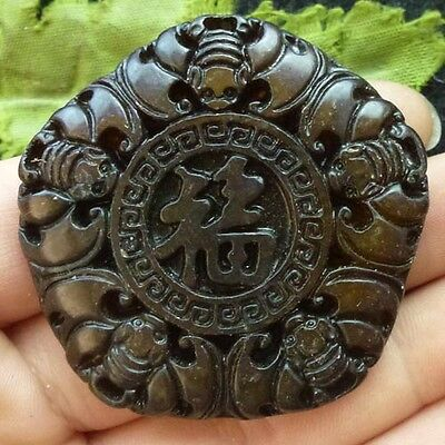 QY22304 Beautiful carved Chinese Old jade pendant bead
