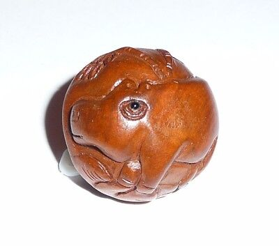 "Wonderfully Detailed Hand Carved HIPPO Boxwood Round Button 1"" Diameter"