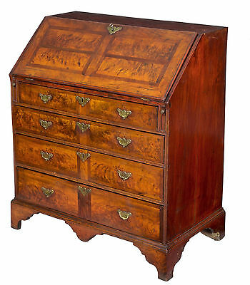 SWC-Rare Burled Walnut and Maple Queen Anne Desk, American. c.1740-60