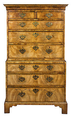 SWC-Inlaid Burled Walnut Chest-on-chest with Pierced Brasses, England, c.1740