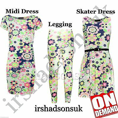 KIDS GIRLS NEON FLORAL PRINT FASHION LEGGING SKATER MIDI DRESS CROP TOP 7-13 Yr