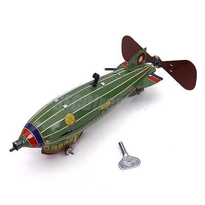 Vintage Wind Up Space Airship Tin Toy Mechanical Clockwork Collectible Gift