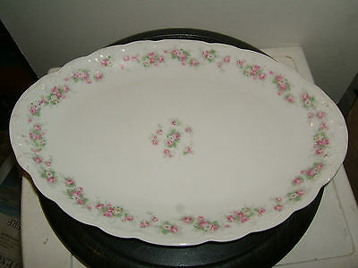 "KPM China Oval Serving Platter 14.75"", tiny pink roses, vintage"