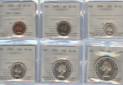 1959 Canada Twenty-Five Cents Pl Coin Set Cent Thru Two Dollar