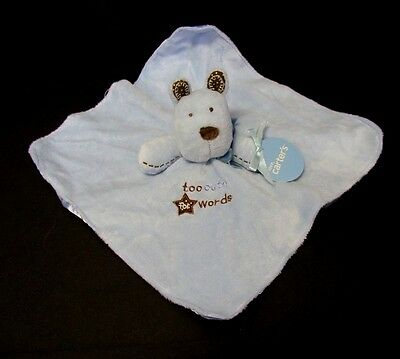 New Carters blue Puppy Dog Too Cute for Words Security Blanket velour satin star