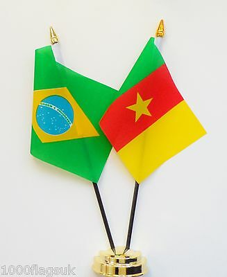 Brazil & Cameroon Double Friendship Table Flag Set
