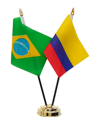 Brazil & Colombia Double Friendship Table Flag Set